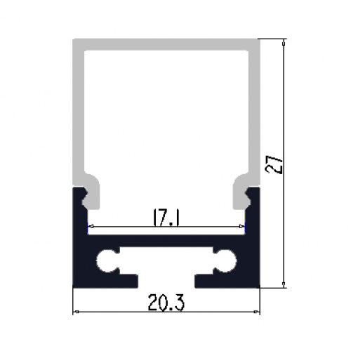 Hliníkový profil 2M pro LED pásek H-015 stropní závěsný