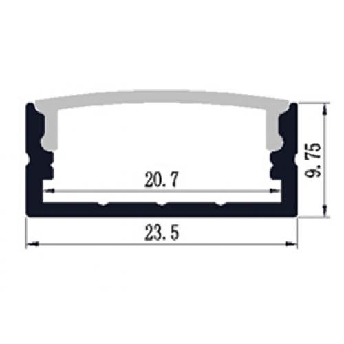 Hliníkový profil 2M pro LED pásek H-025 Wide 20mm