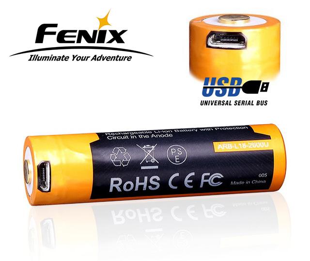Dobíjecí USB baterie Fenix 18650 2600mAh