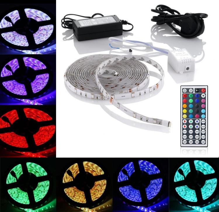 SADA 3 metry LED pásek ECOLED RGB 60 led/m vodotěsný+dálkové ovládání+zdroj