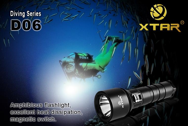 Xtar D06 Potápěčská LED svítilna KOMPLETNÍ SADA